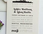 Rehearsal Dinner Invitation - Skyline - JPress Designs, city scape, silhouette, wedding, black and white, modern, elegant, map, dinner