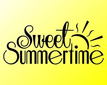 Sweet Summertime Home Wall Decal Quotes Words Sayings Removable Summer Wall Lettering