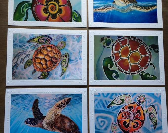 Tropical Sea Turtles!  Note card Set - 6 Different Embossed Framable Art Greeting Cards / Note Cards with envelopes, Framable art card