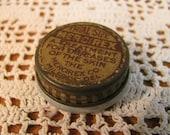 "1930s Trial Size Milk Glass Jar w/ Metal Lid of ""Mercirex"" Skin Salve Sample"