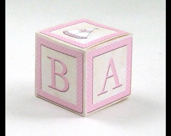 Baby Girl Favor Box / Pink & White Alphabet Block / Baby Shower, Sip and See / Square Cube / Printable DIY Instant Download