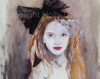 Alice in wonderland fashion painting acrylic mixed media woman girl face portrait painting art print, female face fashion illustration print