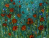 Small acrylic painting - First poppies