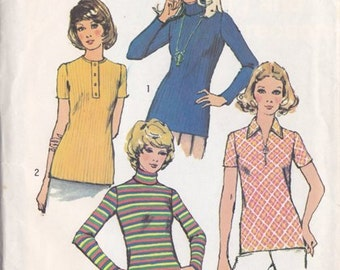 Misses Knit Shirt ~ Top Pattern ~ Simplicity No.5185 Size 12 ~  Designed 4 Knit Fabrics Long or Short Sleeves Roll Collar ~ Cut But Complete