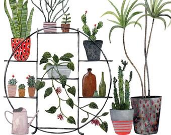 Plant Stand Art Print 8x10