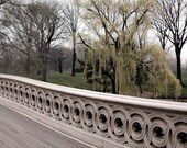 New York Print, Central Park Photography, Bow Bridge and Trees - Green Beige Brown - Neutral Rustic NYC Art