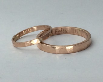 Rose gold wedding band set, his and hers, 10kt gold, hammered or smooth finish, rose gold ring