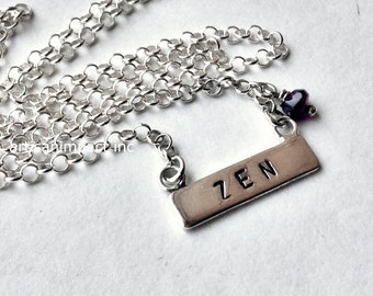 Silver bar necklace, Layering necklace, amethyst necklace, Zen necklace, personalised name necklace, yoga pendant - Relaxation N2014