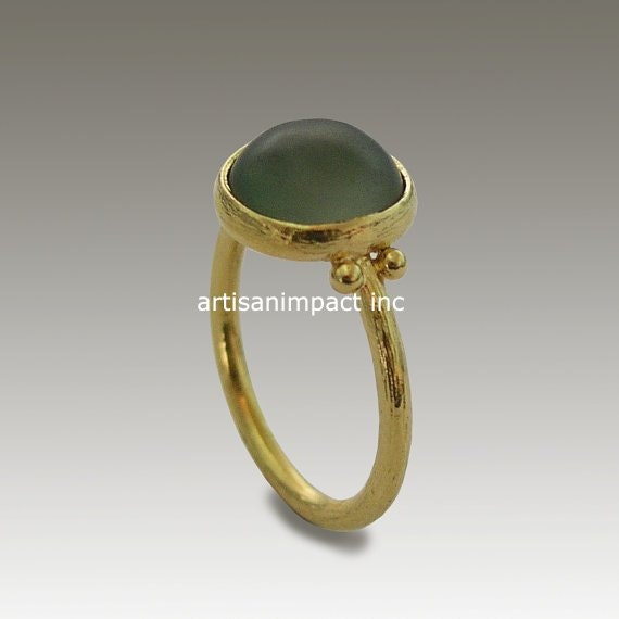 Solid yellow gold ring Engagement Jade ring stone ring