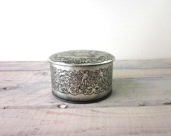 Vintage Metallic Tin by Daher Victorian Scene