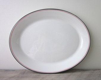 Vintage Armorlite Restaurant Ware Serving Platter with Grey and Red Trim Stripes