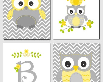 Owl Nursery Art Yellow Gray Owls Initial Monogram Baby Nursery Boy Girl Kids Wall Art Chevron Owl Nursery Decor, Set of 4, Art Prints