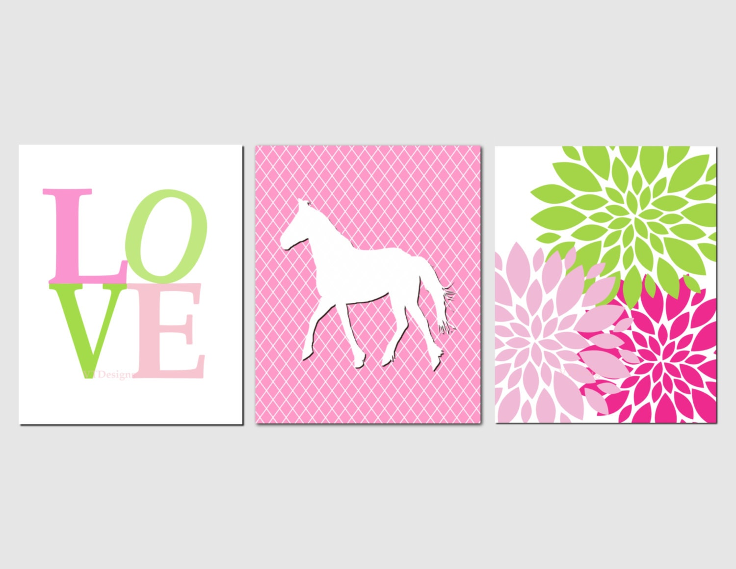 Pink And Green Wall Decor For Nursery : Pink green nursery wall art baby girl room decor by vtdesigns