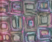 Yardage of mid century mod fabric. Boho, retro, psychedelic, geometric, purple, violet, gray, brown, synthetic, watercolor like, three yards