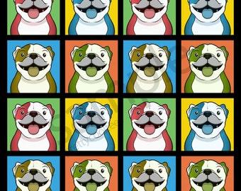 Bulldog Cartoon Pop-Art T-Shirt Tee - Men's, Women's Ladies, Short, Long Sleeve, Youth Kids