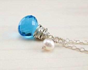 Swiss Blue Pendant Necklace Sterling Silver Blue Quartz Freshwater Pearl Wire Wrapped Gemstone Minimalist Jewelry December birthstone