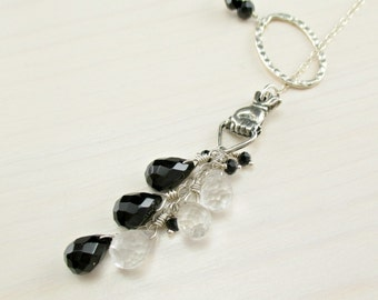 Black Onyx Lariat Necklace, Crystal Quartz, Black Spinel, Sterling Silver Gemstone Lariat Necklace