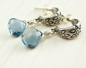 London Blue Topaz Dangle Earrings, Sterling Silver, Blue Topaz Hoops, Stud, Post, December Birthstone Earrings