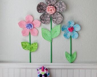 flower wall decal, girls room, nursery decor, wall flowers, 3d art. wall decor. fabric wall flower. pink fabric flower. baby shower gift.