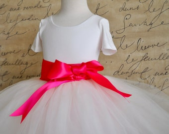 Ivory and pink girls tutu with choice of ribbon color. Featured in Martha Stewart Wedding Magazine. Flower Girl, birthday, special occasion.