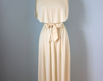 1970s  ivory tower maxi gown / 70s creamy knit disco dress /