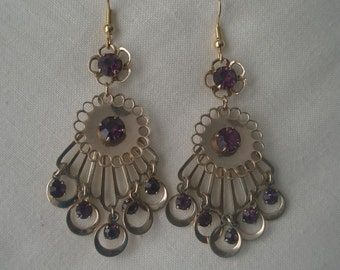 Vintage Exotic Gold Tone Dangle Earrings with Faceted Amethysts