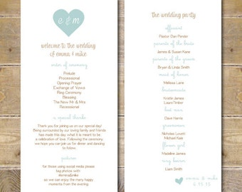 Wedding Programs, Ceremony Program, Wedding Program, Order of Service Card, Order Of Service , Rustic Programs, Hearts, Romance