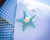 Men's Knobby Starfish Boutonnieres with Rosette- Hand Painted 47 Colors to Choose from- Unique Custom Beach Lapel pin- Beach Wedding