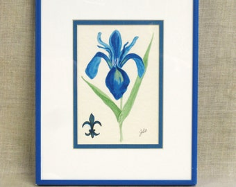 Watercolor Painting , Flower , Floral , Iris , Blue , Botanical , Specimen Painting , Art , Original , Fine Art , Framed , Flowers , Garden