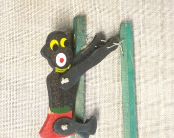 Trapeze Toy , Antique Toy , Wooden Toy , Japan , Hand Toy , Squeeze Toy , Trapeze Man Toy , Acrobat Toy , Antiques , Toy , Circus Toy , Wood