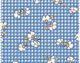 White Flowers on Blue and White Check 1930's Reproduction Cotton Quilt Fabric from Fresh Water Designs' Kimberly's Garden FWDKIG04-BLU