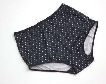 Black hipster high waist underwear  / Polkadot print panties  / grandma undies - MADE TO ORDER