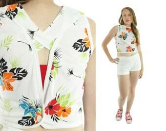Vintage 90s Open Back Tank Top Sleeveless Shirt Cropped Blouse Womens 1990s Fashion Medium M