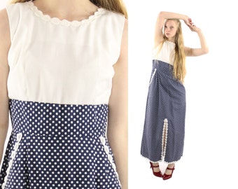 Vintage 70s Maxi Dress Navy White Polka Dot Dress Lace Sailor Nautical Dress Womens Spring Summer Fashion 1970s Medium M Lounge Craft