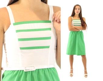 Vintage 70s Sundress Nautical Dress Green White Sleeveless Dress 1970s XXS Spring Summer Sailor Dress