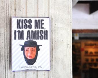 "Kiss Me I'm Amish Canvas Print - 7"" x 5"""