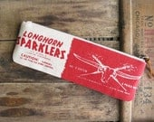 Longhorn Texas Southwestern Zipper Pouch Zip Clutch Long Pencil Case Cotton Canvas Red Summer Accessories Made in Nashville USA SALE