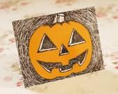 Set Of Five Halloween Scribble Pumpkin Postcards