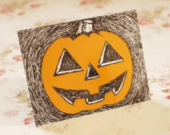 Set Of Five Halloween Scribble Pumpkin Postcards