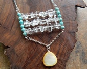 quartz necklace, structural jewelry, modern, tribal, ladder necklace,  long boho necklace, layering necklace, mermaid jewelry, ajbcreations