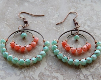 wire wrapped beaded hoops, bohemian jewelry, indie boho style, colorful chandelier earrings, hoop earrings, gypsy hoops, coral, mint green