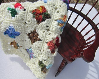 Doll Bed Quilt, Crochet Baby Doll Afghan,  Dollhouse Quilt, Crocheted Old Time Granny Square Dolly Blanket, Scrap Multicolored Covering