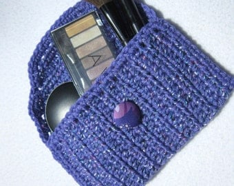 Crocheted Lavender Cosmetic Bag, Sunglass Case, Light Purple Purse Pouch, Jewelry Holder for Traveling by Charlene