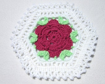 Rose Doilies Set of Two Crochet, Crocheted Table Decor, White Doilies, Gift for Grandma, Old Fashioned Under Vase Doily, Gift for Coworker