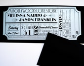 Old Hollywood, Art Deco, Silver Movie Ticket Invitation SAMPLE