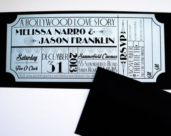 Old Hollywood, Art Deco, Silver Movie Ticket Invitation SAMPLE