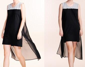 Black female dress cotton patchwork chiffon dress vest dress