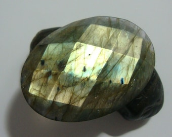 AAA, Flashing Firey Blue Green Gold LABRADORITE Faceted Oval Cabochon,1 pc, 35x25x6mm - a16-5, reduced from 33.90