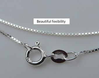 925 Sterling Silver Box Chain, Finished Chain - 1 pcs - 16 Inches, 1mm - Made in Italy