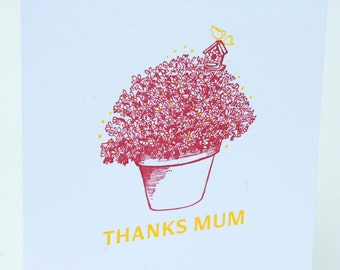 SALE - Letterpress Mother's Day Card - Thanks Mum - 60% off